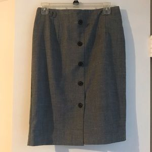 H&M charcoal pencil skirt with buttons, size 8